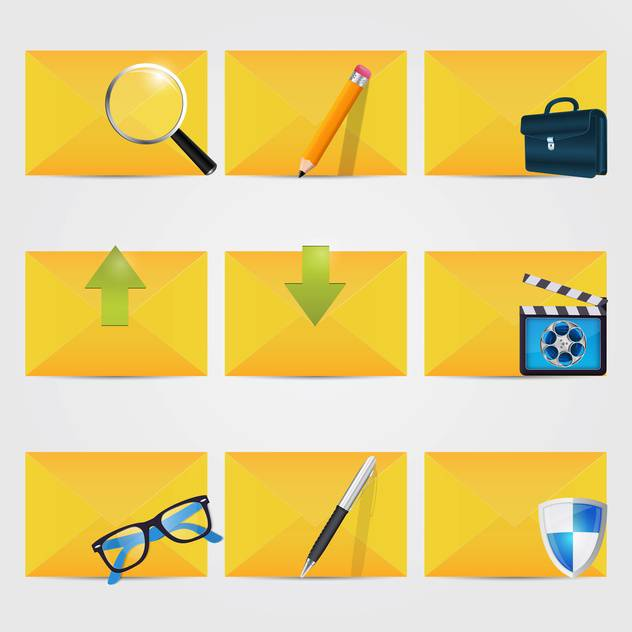 vector correspondence icons with envelopes - vector #132624 gratis
