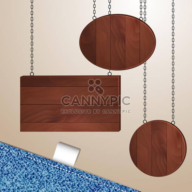 vector wooden boards on chains - Free vector #132834
