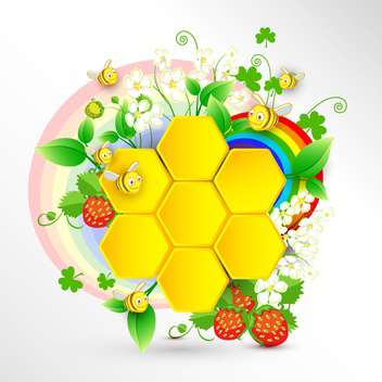 bees and honeycomb with summer rainbow - vector gratuit #132854