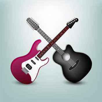 acoustic guitar and electric guitar illustration - vector gratuit #133024