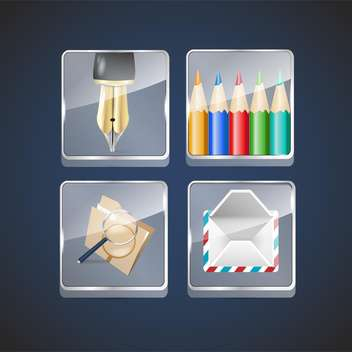 icon set of ink pen and pencils with envelope - vector gratuit #133114