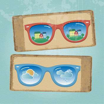 glasses with cityscape and weather reflection - vector gratuit #133144