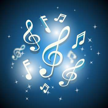musical notes and treble clef background - vector #133164 gratis