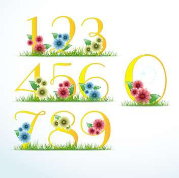 vector numbers in floral style - vector gratuit #133384