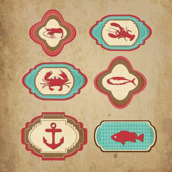 marine retro icons vector set - vector gratuit #133424