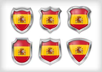 spain flag on metal shiny shield set - vector #133594 gratis