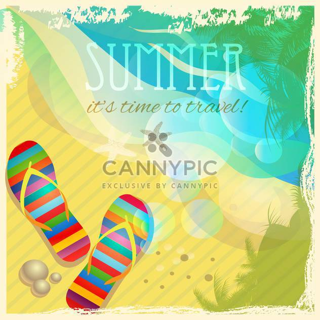 flip-flops on sandy summer beach - Free vector #133674