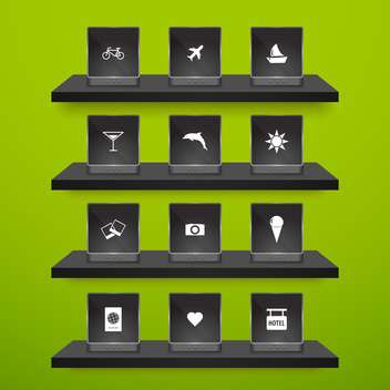 set of travel icons background - Kostenloses vector #133694