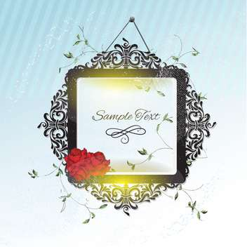 vintage frame with roses flowers - vector gratuit #133704