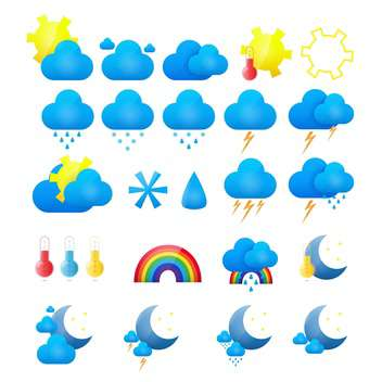 vector weather icons set - vector gratuit #133844