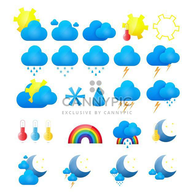 vector weather icons set - Free vector #133844