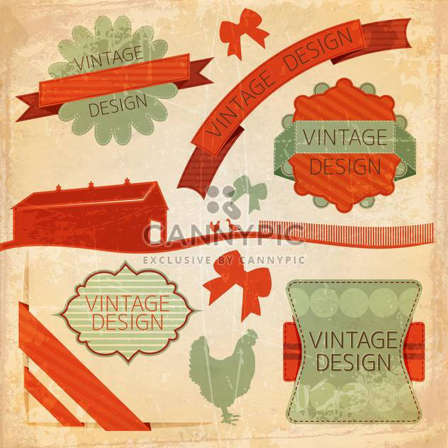 set of retro labels background - Free vector #133864