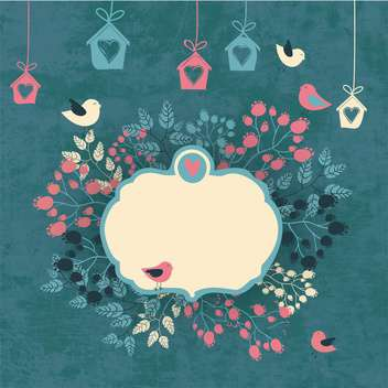 vintage floral background with cute birds - vector gratuit #133984