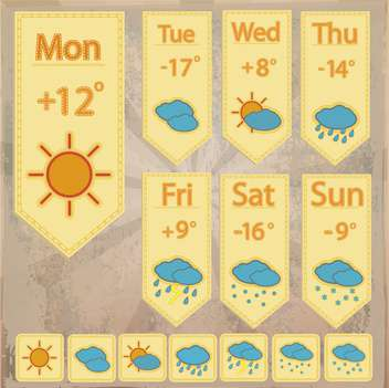 weather forecast icons set - vector gratuit #134414