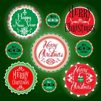 merry christmas holiday vintage labels - vector gratuit #134484