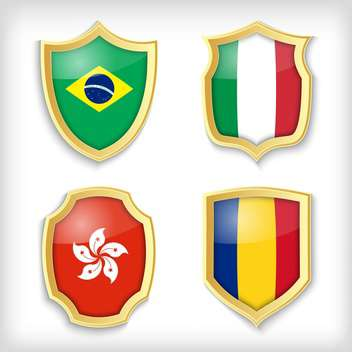 set of shields with different countries stylized flags - vector gratuit #134514