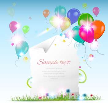 happy holiday card with balloons - vector gratuit #134524