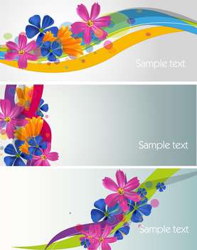 summer floral cards background set - vector gratuit #134544