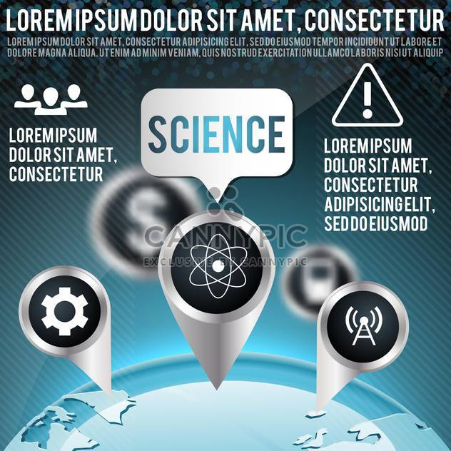 blue vector background with science icons - Free vector #134604