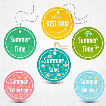 vector set of stickers for summertime - vector gratuit #134764