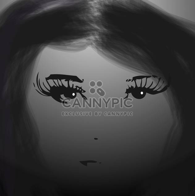 black and white female face - Free vector #134924