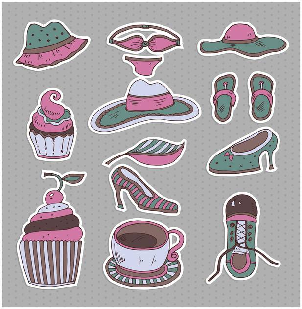 set of cartoon retro clothes - vector gratuit #135014