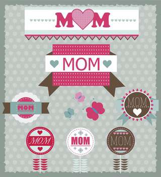 set of greeting labels for mother's day - vector gratuit #135054