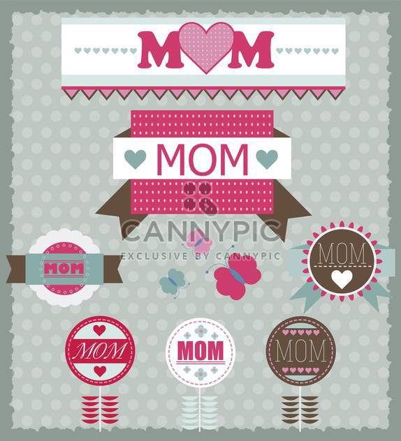 set of greeting labels for mother's day - Free vector #135054