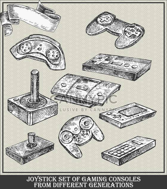 different generations joystick set of gaming consoles - бесплатный vector #135104