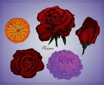 vector set of flowers on violet background - vector gratuit #135124