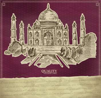 vintage style label with indian taj mahal - vector #135174 gratis