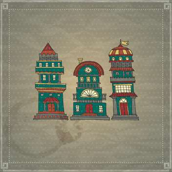 cartoon antique castle towers - vector gratuit #135184