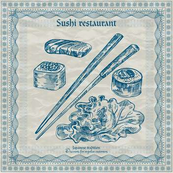 vintage sushi restaurant banner vector illustration - бесплатный vector #135204
