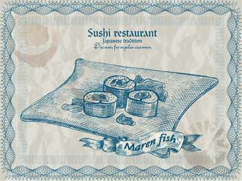 vintage sushi restaurant banner background - vector #135214 gratis