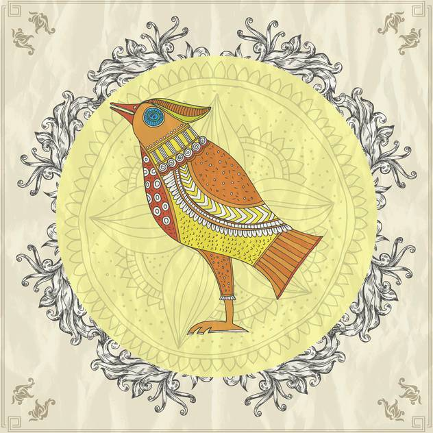 retro style card with bird vector illustration - vector gratuit #135244