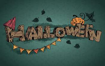 halloween holiday inscription on dark green background - vector #135254 gratis